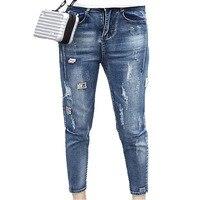 2018 Causal Pantalones de Mezclilla de Las Mujeres Rectos Delgados Señoras Delgadas Pantalones Vaqueros Agujeros de Bolsillo Denim Pantalones Lápiz Cremallera Más El Tamaño XL-5XL