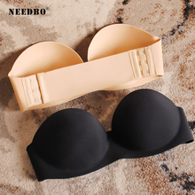 NEEDBO Strapless Bra Push Up Sexy Bras for Women Wire Free Deep U Cup Seamless Bralette Invisible Female Underwear