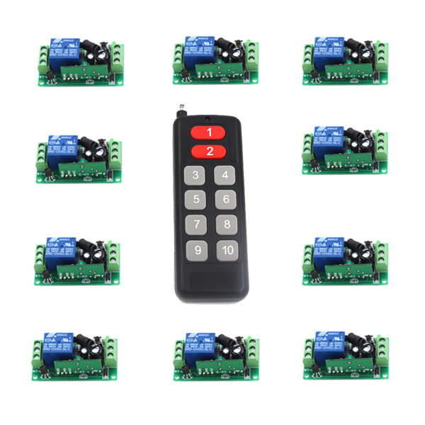 DC9V 12V 24V 1 CH 10A RF Wireless Remote Control Lighting Switch System Transmitter Receiver 315Mhz