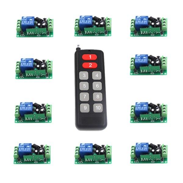 цена на DC9V 12V 24V 1 CH 10A RF Wireless Remote Control Lighting Switch System, Transmitter + Receiver,315Mhz 433 MHZ