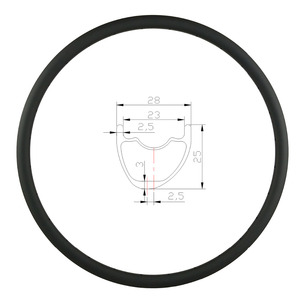 Image 1 - 29er 27.5er 650B MTB XC 28mm hookless carbon rim asymmetric clincher tubeless 25mm deep UD 3K matte glossy 24 28 32 Holes wheel