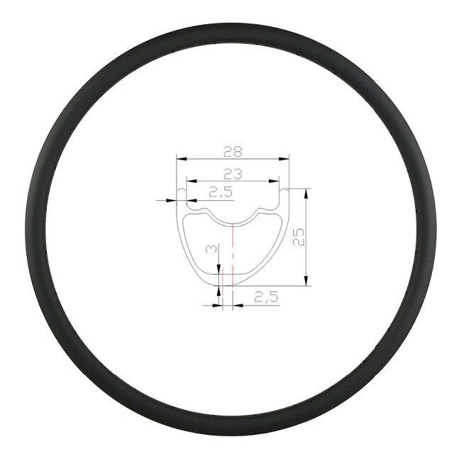 29er 27.5er 650B MTB XC 28mm hookless carbon rim asymmetric clincher tubeless 25mm deep UD 3K matte glossy 24 28 32 Holes wheel