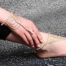 Bohomian Set Auger Bracelet Anklet Korean Barefoot Sandal Beach Anklet Pearl Multilayer Tassel Bracelet Bangle Wedding Jewelry