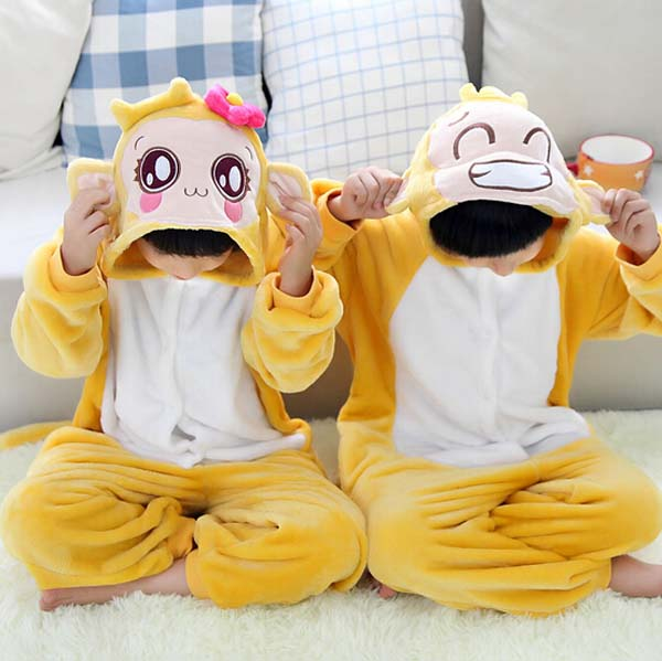 Free Shipping Pajamas For Kids Flannel Baby Boy Warm Winter Cartoon Animal Pajamas Onesie Children Sleepwear