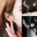 Women's Asymmetric Leaf Ear Clip Chain Drop Dangle Ear Cuff Earrings 99JT