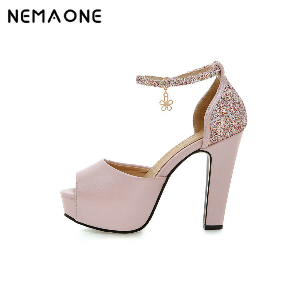 NEMAONE New summer Peep toe Ankle strap sexy Thick high heel Sandals Platform women shoes large size 34-43