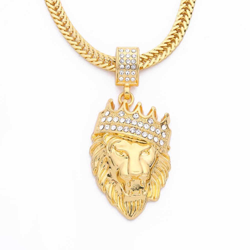 Naszyjnik biżuteria męska pełny mrożona z Rhinestone lew Tag wisiorek łańcuch kubański Hip Hop naszyjnik wąż łańcuch