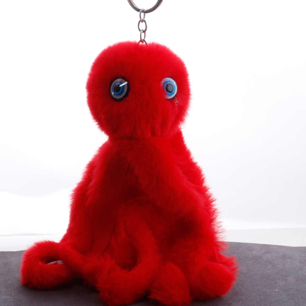 QiYuFang Sevimli Cthulhu Ahtapot Ponpon Anahtarlık Yumuşak oyuncak anahtarlık Sahte Tavşan Kürk Topu Kadınlar Araba Çanta Pom Pom Yeni Anahtarlık Pom pom