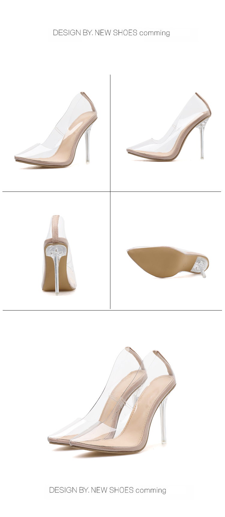 HTB1e14AQrvpK1RjSZFqq6AXUVXaD Aneikeh 2020 Concise Fashion PVC Woman Transparent Sandals Thin High Heels Shoes Pointed Toe Pumps Slip On Solid Apricot 35-42