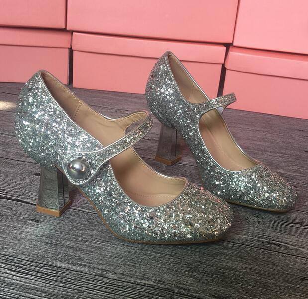 New fashion vintage thick heels woman shoes bling bling glitter embellished ankle strap high heel shoes Mary Janes shoes new fashion thick heels woman shoes pointed toe shallow mouth ankle strap thick heels pumps velvet mary janes shoes