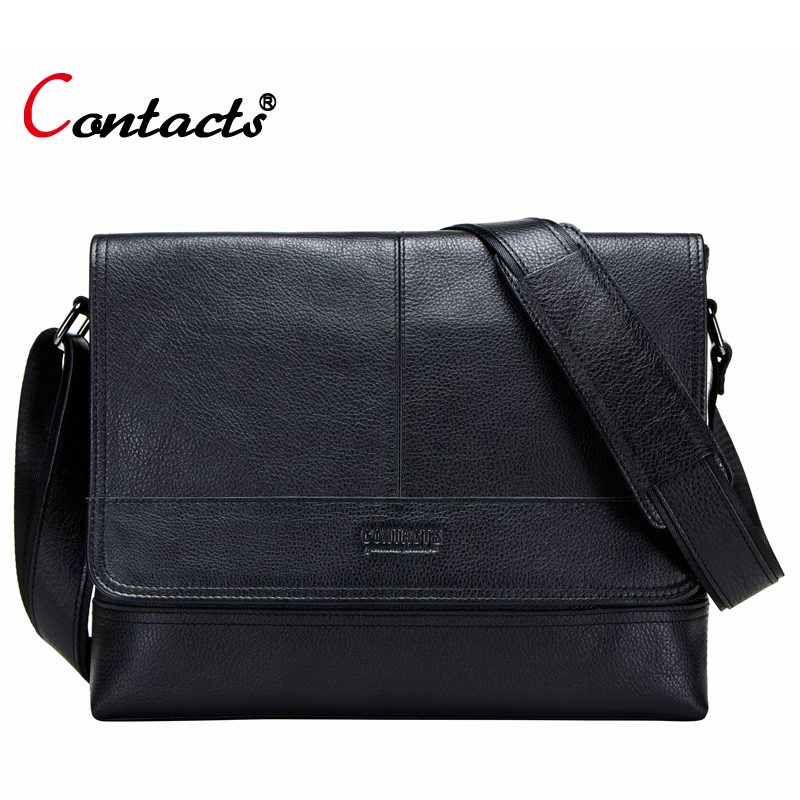 CONTACT'S brand genuine leather bag men handbag male bags crossbody messenger bag men shoulder bag male briefcase big black
