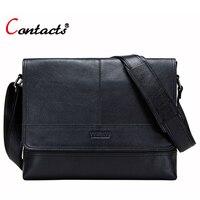 CONTACT'S брендовая натуральная кожа сумка мужчин сумки мужские сумки crossbody сумка мужская сумка мужской портфель большой черный