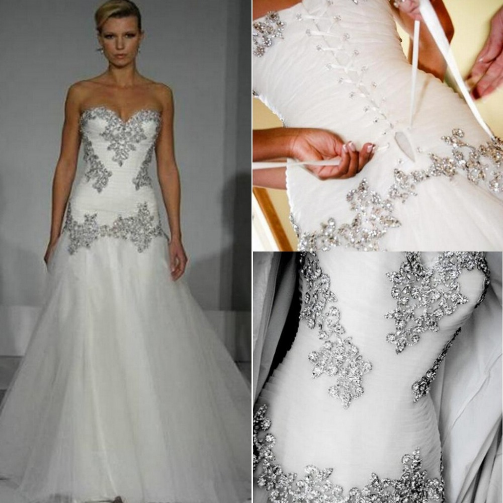 2014 Wedding Dresses Pnina Tornai A Line Sweetheart Bling Bling With