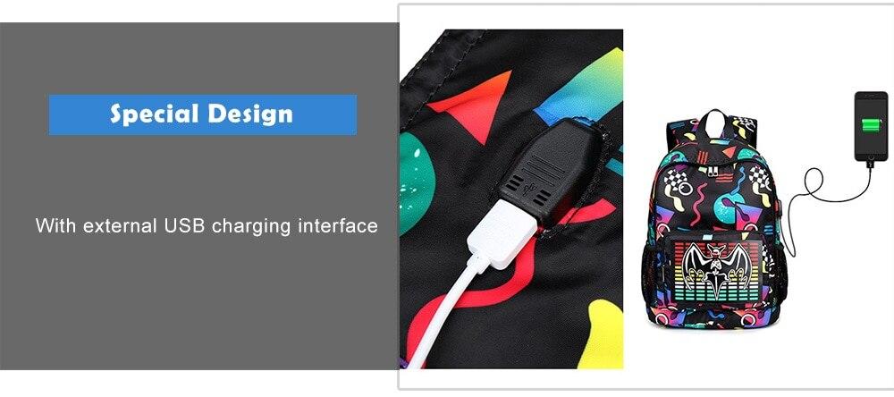Liyongyi Creative Print Backpack with USB Port- Black 1