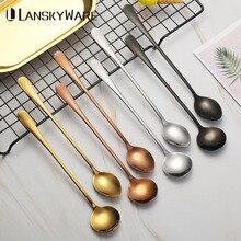 2 Pcs/Set Colorful Tea Spoon Long Handle Stainless Steel Coffee Set Kitchen Accessories Dessert Scoop
