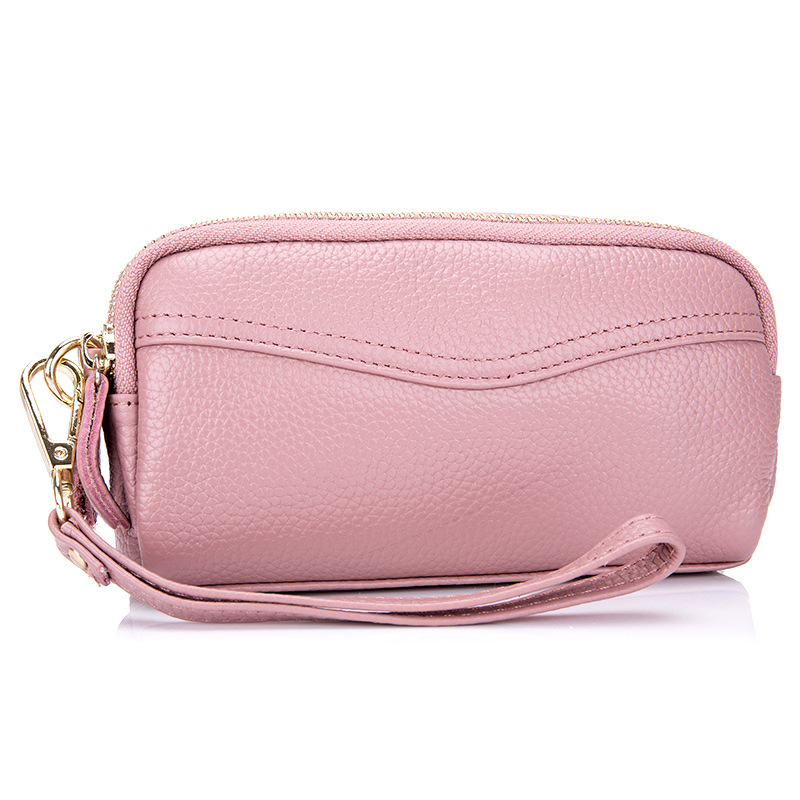 New Lady Real Leather Mobile Phone Bag Women Zipper Long Purse Genuine Cow Leather Clutch Wallets Coins Pouch