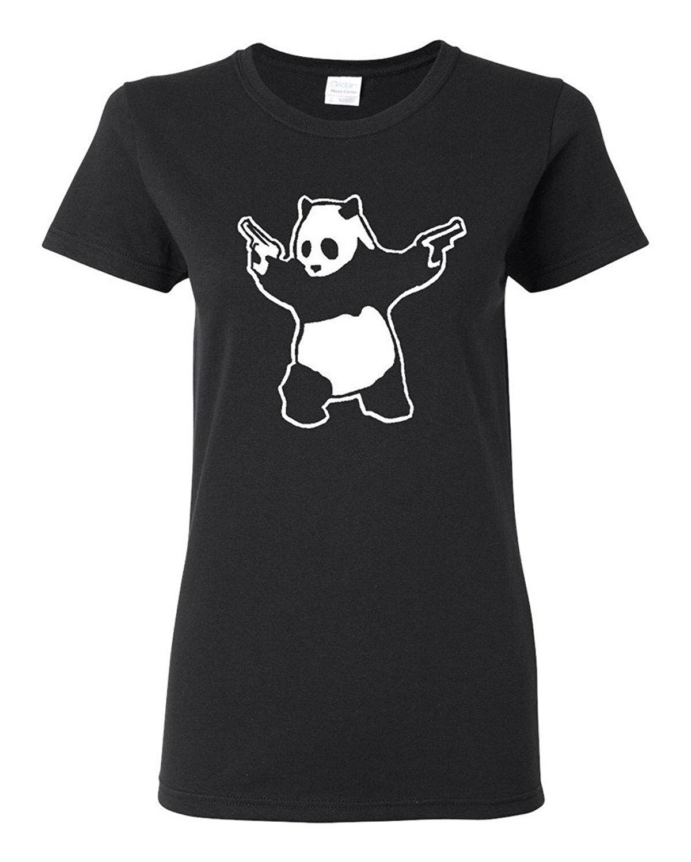 Shirt design for friends - Shirt Design Short Crew Neck Ladies Panda Guns 2nd Amendment Best Friend Shirts For Women