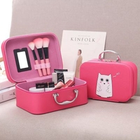 New Cute Women PU Leather Makeup Handbag Cosmetic Case Beauty Box Cute Animals Print Cosmetic Cases