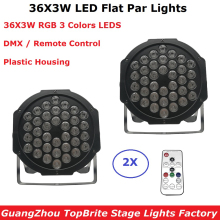 2XLot LED 36X3W RGB Colors LED Flat Par Lights Dj Wash Light Stage Uplighting KTV Disco Par Lights  DMX512 Disco Lights Par LED цены