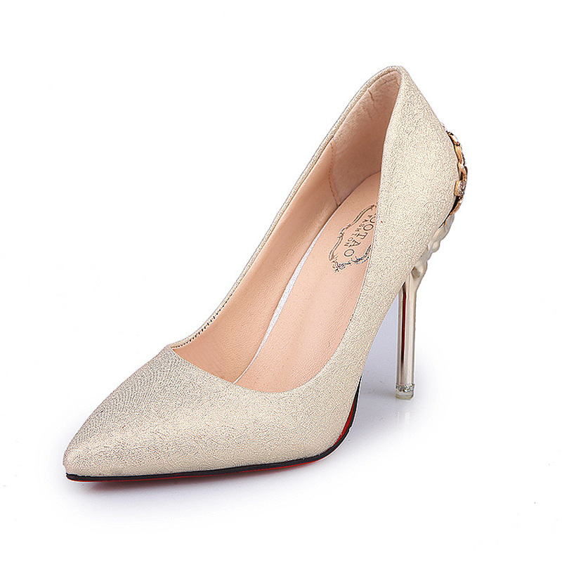 Womens Pumps High Heels Red Bottom Ladies Slip-on Gold Pointed Toe Party Wedding Dress Shoes Classics Retro Elegant Promotion basic pump