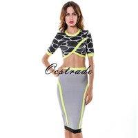 Gratis verzending 2016 nieuwe merk dress lente zomer vrouw zwart grijs & neon groen bodycon dress tweedelige 2 stuk bandage dress