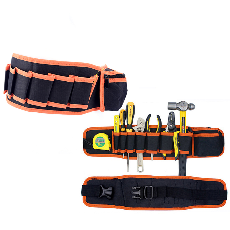 Tool Bags Shock-Resistant And Antimagnetic Waist Pocket Belt Tool Bag Pouch Hammers Pliers Screwdriver Holder Storage Hand Repair Tool Electricians Adjustable 4 Color Waterproof