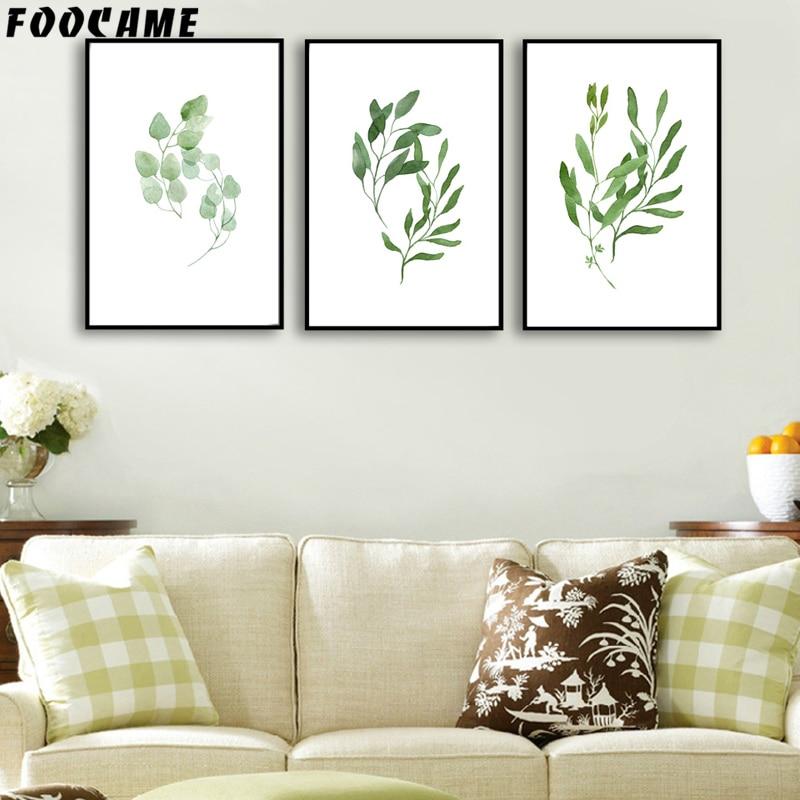 FOOCAME Ακουαρέλα Πράσινο φυτό αφήνει - Διακόσμηση σπιτιού - Φωτογραφία 2