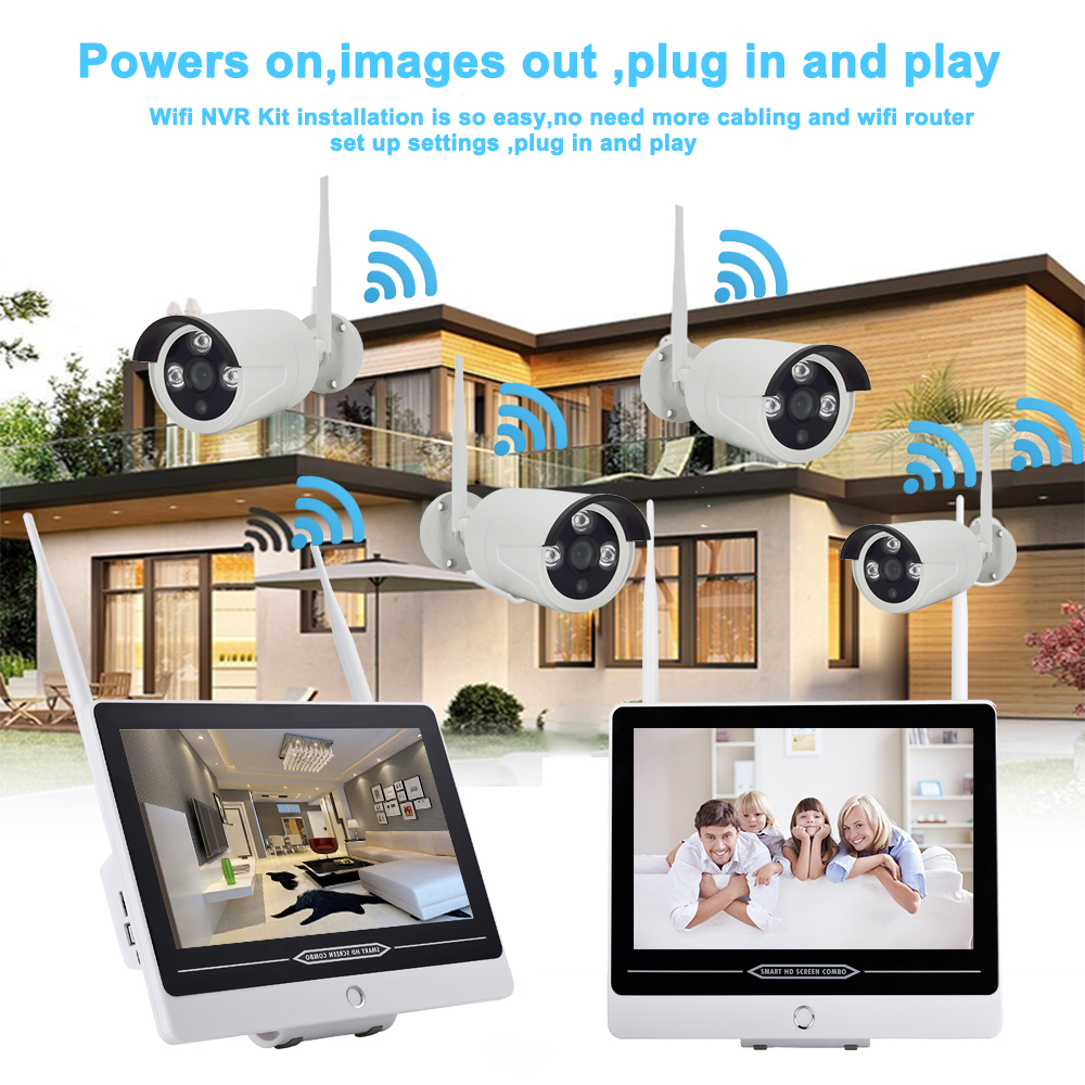 IMPORX 4CH HD 1080P 13 quot LCD NVR Wifi Video Surveillance Kit 2MP Wireless CCTV System Security IP Camera Set Motion Detection 3TB in Surveillance System from Security amp Protection