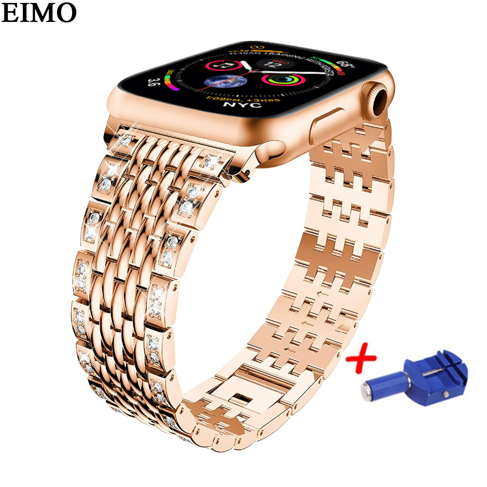 EIMO Strap for apple watch band 44mm 40mm Iwatch series 4 Diamond Stainless steel Link bracelet Wrist Belt watchband Accessories цена и фото