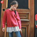 2-7Y Children Girls Red Sweater With Lace Kids Full Sleeve Cardigan Clothes 2016 Autumn Baby Warm Knit Jumper Clothing
