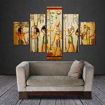 Large Framed Original art print poster canvas Egyptian Hieroglyphics Ancient 5 pieces