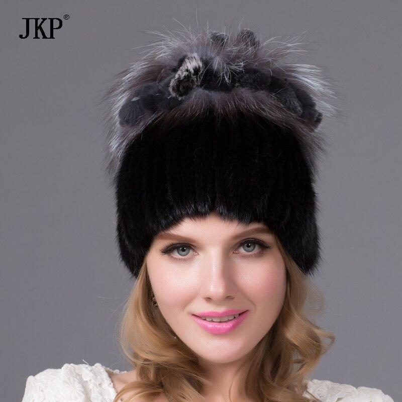 Топло зимата жени норка шапка с истински лисица мех пом пом топка подплата трикотажни Skullies обилно женски козина шапка шапка