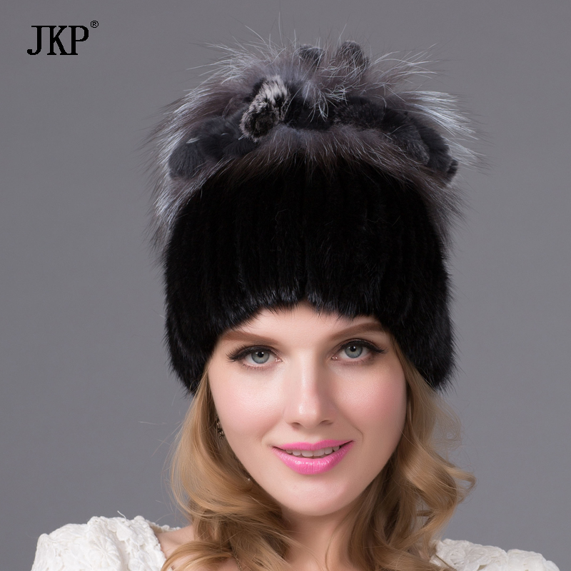 Warm winter women mink fur hat with real fox fur pom pom ball lining knitted Skullies copious female fur headdress beanie cap