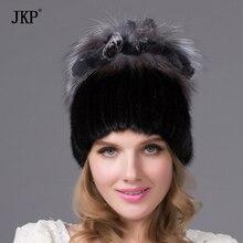 женская шапка из натуральных мехов вязаная шапка с подкладкой норковая меховая шапочка помпон мех из лисы и кролика  DHY-20