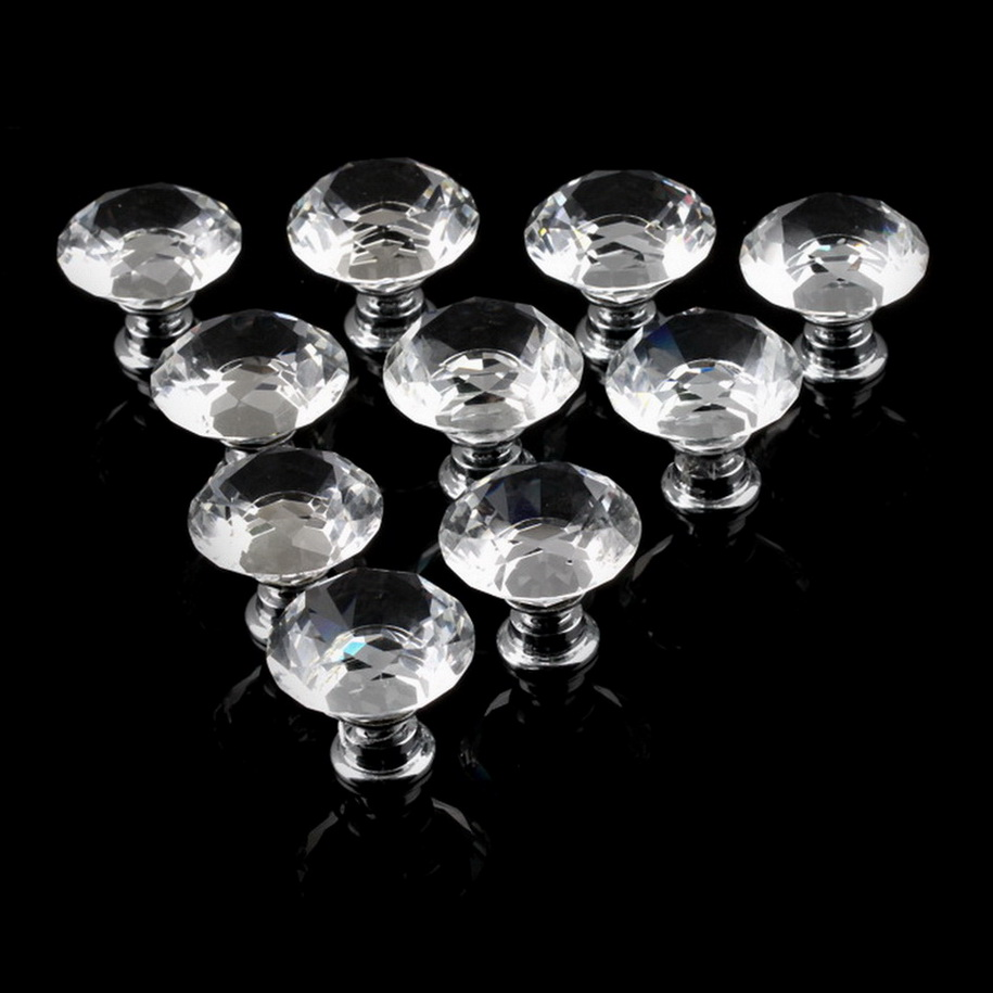1pack 10Pcs Crystal Glass 30mm Diamond Shape Knob Cupboard Drawer Pull Handle New Stock Offer