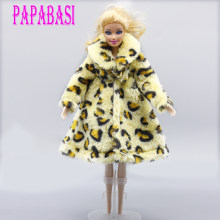 New style Leopard Plush Coat Winter Wear Dress Snowsuit Clothing Outfit Clothes For 1/6 Toy Barbiedoll fashion Coat(China)