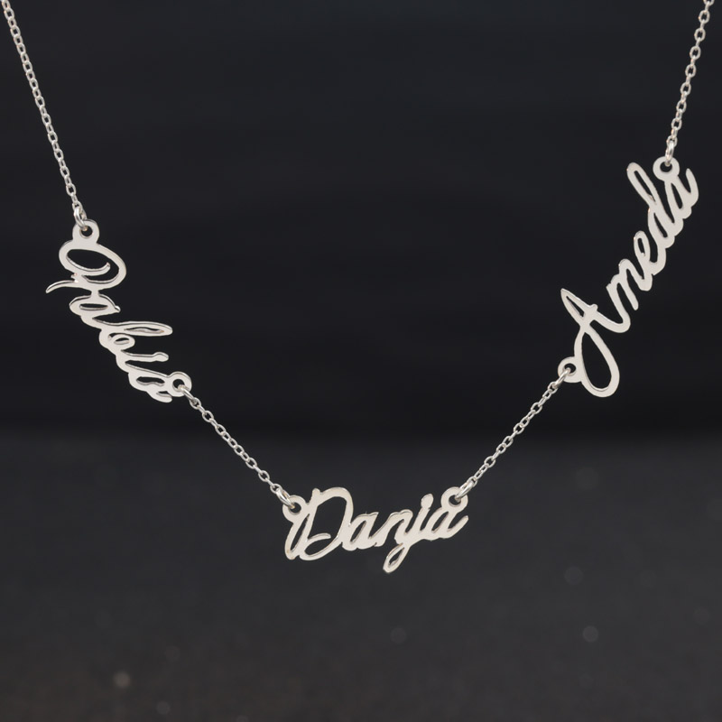 3 Nameplates Customized 925 Solid SilverNecklace Personalized Three Name Pendants Family Necklace Women Fashion Name Jewelry
