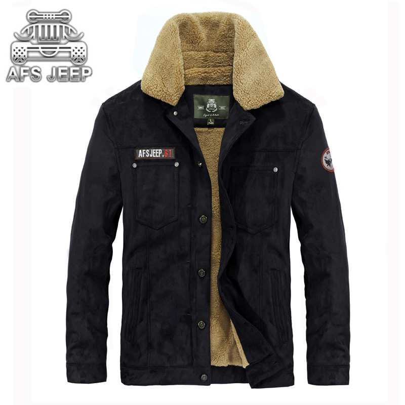 ФОТО Original Brand AFS JEEP Mens Jackets Winter New 2017 Air Force One Military Thick Keep Warm in -30 Degree Casual Fur Coat