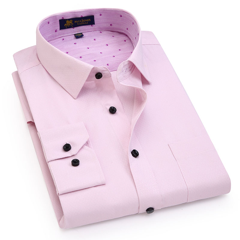 862c7b6abb 2018 Newly Fashion Long Sleeve Purple Stripe Men Dress Shirts Business  Casual Brand Mens Shirts Printed Collar camisa masculina