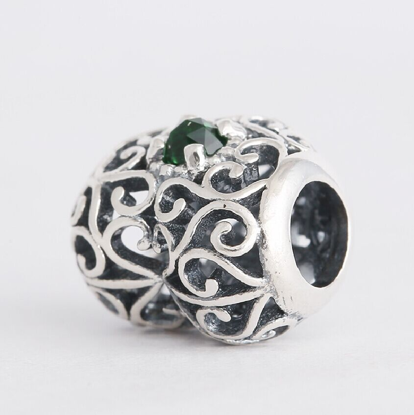 2015 Autumn Release 925 Sterling Silver May Signature Birthstone Heart with Royal Green Crystal Charm Bead Fit All European Style Bracelets