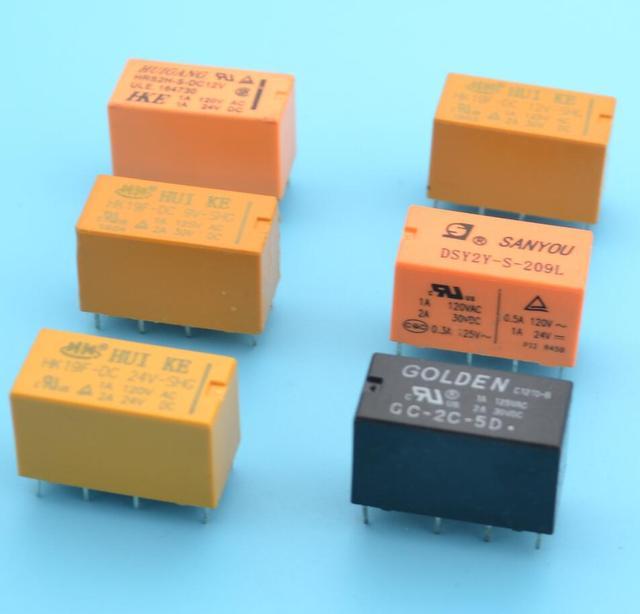20pcs dpdt pcb relay 3V 5V 9V 12V 24V 8 pins relay switch dpdt relay
