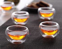 50ML  heat resistant glass tea cups double layer 6pcs/lot 100% handmade,free shipping,hot selling hot selling dunlop ventilated 100