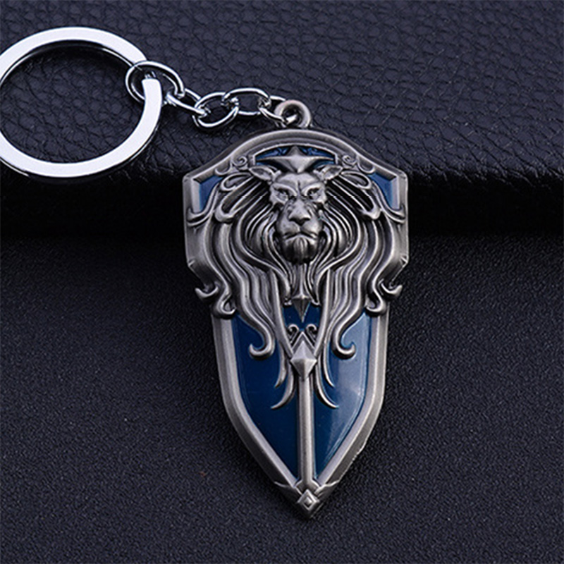 Punk Style WOW Game World of Warcraft Lion Keychain Antique Silver Lion King Head Copper Alloy Charms Key Pendant Chaveiro блуза lion of porches lion of porches li027ewyal39