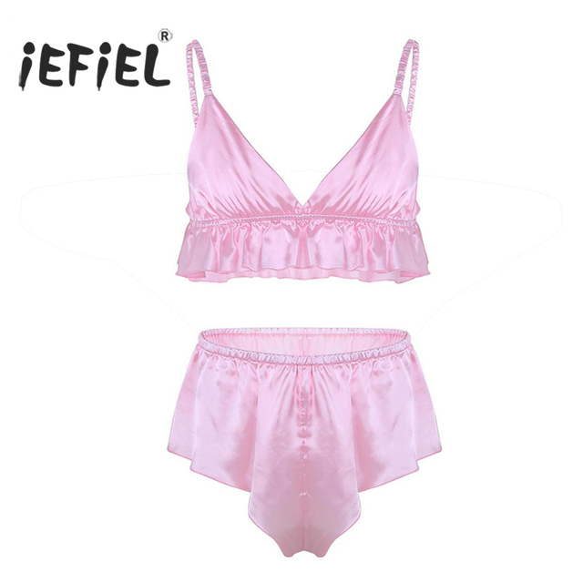 7021a94ee43d iEFiEL Mens Feminine Gay Lingerie Sissy Male Panties Soft Silky Ruffles Lace  Side Bra Top with Loose Triangle Briefs Underwear