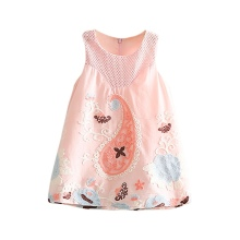 Summer Beautiful Sweet Baby Girls Cute Sleeveless Printed Flower Dresses Kids Clothes A-line Vestidos Dress M1