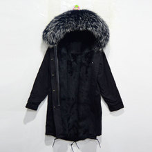 real all black fur long jacket with raccoon white collar, rabbit fur lining inside Mrs furs winter parka