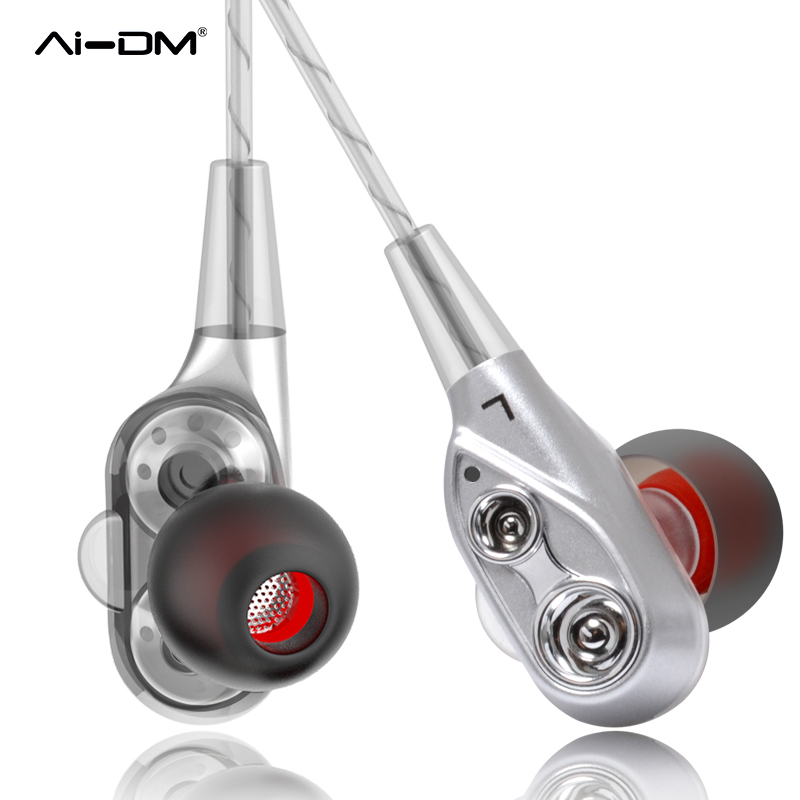AIDM Sport Earphone Headphones In-Ear Bass Earphones Dual Driver With Mic Gaming Headset Fone De Ouvido Gamer Auriculares PC MP3