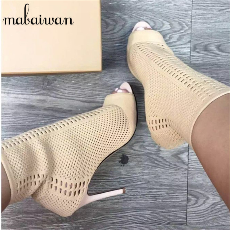 Fashion Knitted Women Ankle Boots Peep Toe Sock Booties Hollow Out Women Pumps Slip On High Heel Shoes Woman Botines Mujer hot stretch knitted peep toe ankle boots sexy women fashion booties cut outs slip on stiletto high heels botas mujer shoes woman