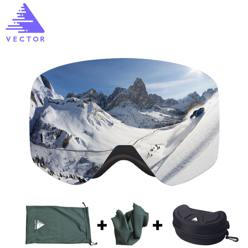 VECTOR Brand Ski Goggles With Case Double Lens UV400 Anti-fog Ski Snow Glasses Skiing Men Women Winter Snowboard Eyewear HB108 vector brand ski goggles men women double lens uv400 anti fog skiing eyewear snow glasses adult skiing snowboard goggles