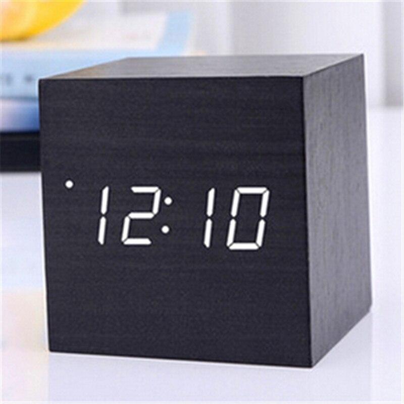 Digital Thermometer Holz Wecker Alarm Datum Schreibtisch Uhr Tisch USB Lade Kurze Stimme-aktiviert Elektronische Wohnkultur